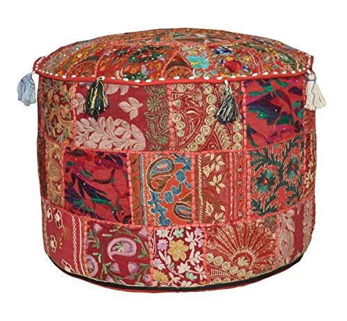 Red Bohemian Pouf Ottoman Vintage Patchwork Indian Pouf, Round Ottoman, Seat Stool Pouffe ,Cotton Living Room Decor 12x16 inch