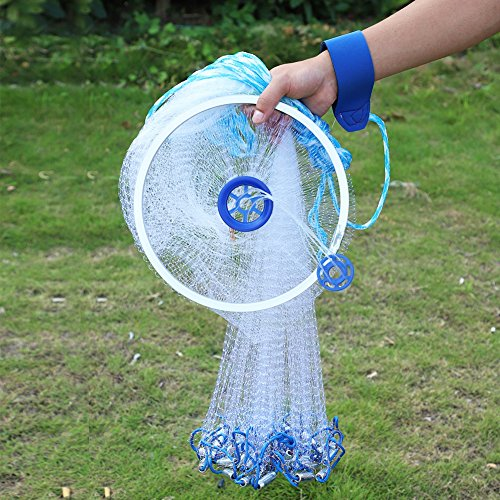 Cocoarm Fishing Net Nylon Monofilament American Style Cast Net Outdoor Hand Throw Fishing Mesh with Heavy Duty Weights for Bait Trap Fish - Outdoor Hand Cast