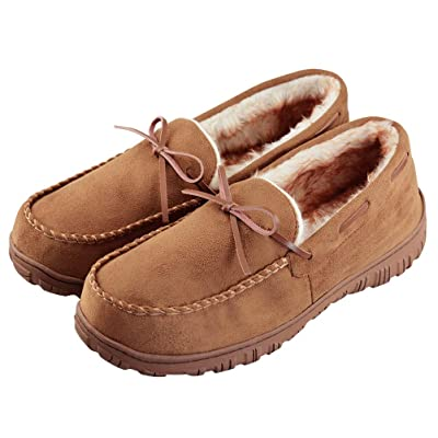 VLLY Mens Cozy Pile Lined Microsuede Indoor Outdoor Slip On Moccasin Slippers | Slippers