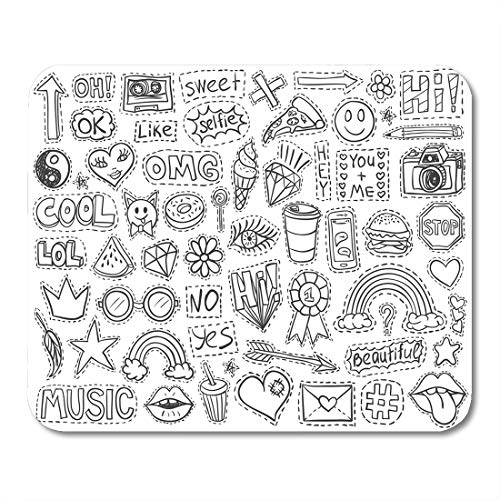 Emvency Mouse Pads Patch Badges Doodle Sketch Comic Words Lips Rainbow Ice Mouse Pad for notebooks, Desktop Computers mats 16