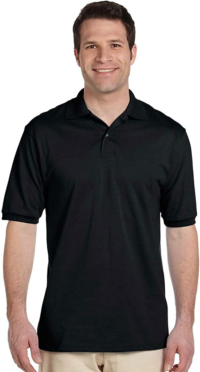 Jerzees Mens Stain Resistant Polo Shirt with SpotShield, Black ...