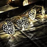Wonderpark Battery Operated Silver Filigree Heart LED Fairy Lights with 10 Warm White LED