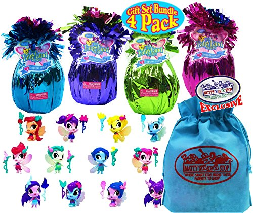 Li'l FairyLand Cuties Series 1 Fantasy Blind Bags Purple, Green, Pink & Blue Gift Set Party Bundle with Bonus Matty's Toy Stop Storage Bag - 4 Pack (Asst.) by Li'l FairyLand Cuties