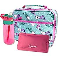 Lunch Box with Water Bottle Set (Aqua Cat Mermaid)