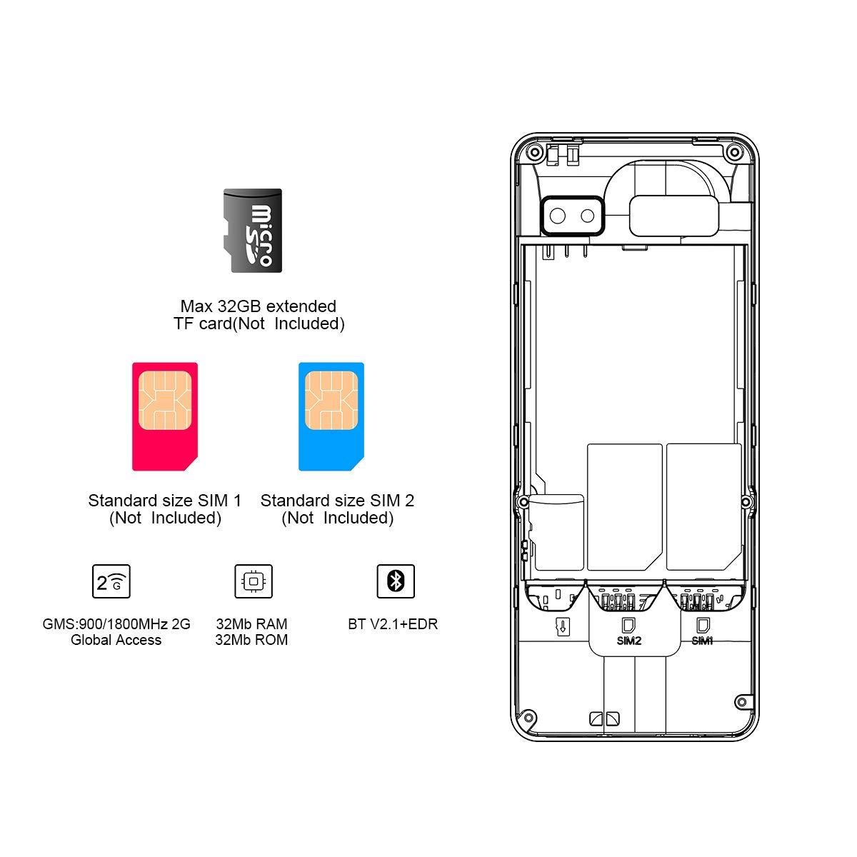P501 Celulares Simple - Moviles Buenos con 2.4 Pulgadas, Doble SIM, Radio, Telefono Movil Basico Teclas con Physical Keyboard, LED Flashlight, Bluetooth, 1750mAh(Oro Negro)