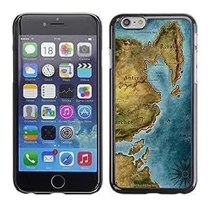Qstar Arte & diseño plástico duro Fundas Cover Cubre Hard Case Cover para Apple (5.5 inches !!!) iPhone 6 Plus ( Ancient Map Continent Sea Ocean Chart)