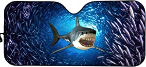 HUGS IDEA Car Sun Shade Windshield Universal Fit Sunshade Funny Underwater Animal Shark Print Sun Visor Cover-Keep Your Vehicle Cool