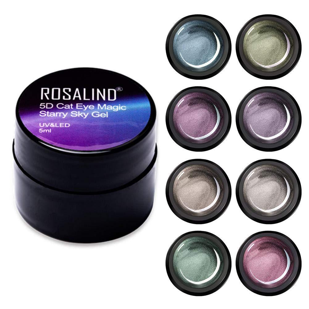 qwrew 5D Cat Eye Gel Polish with Magnet, Cat Eye Gel Nail Polish Set and Starry Sky Soak Off UV Gel Nail Art Manicuring by qwrew