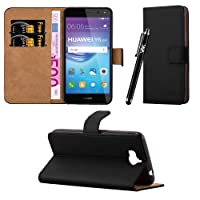 Huawei Y6 2017 case - Leather Wallet Book Flip Case Cover with Touch Stylus Pen, Screen Protector & Polishing Cloth (Black)