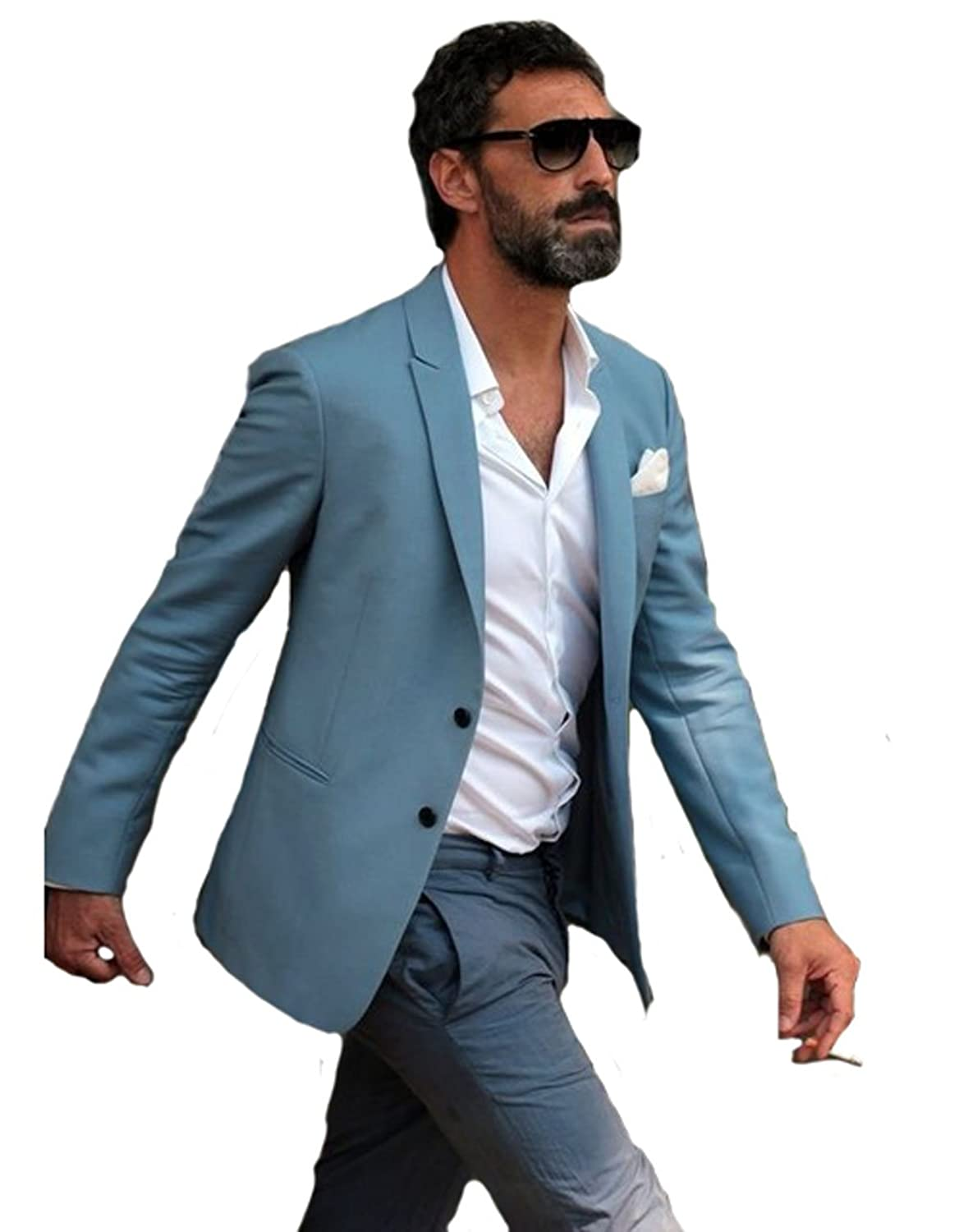Blue Men Suit BOwith Grey Pants Beach Wedding Tuxedo Men Casual Suit ...
