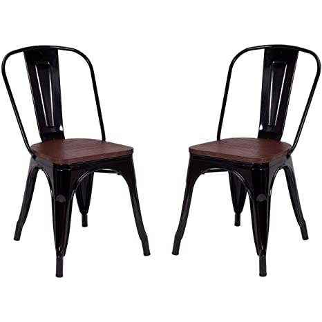 Outstanding Costway Tolix Style Dining Chairs Industrial Metal Stackable Cafe Side Chair W Wood Seat Set Of 2 Black Machost Co Dining Chair Design Ideas Machostcouk