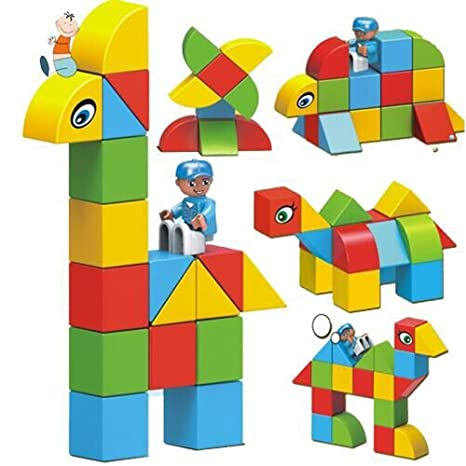 Amazon Com Magnetic Building Blocks Blue Eagle 30 Pcs Stacking Toy