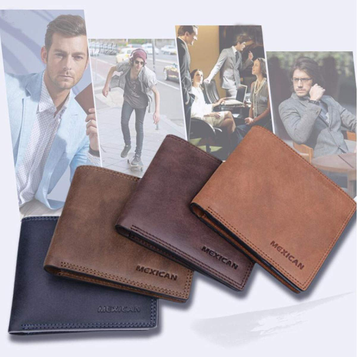 11.5 1.5 9 Blue Color cm Stealth Mode Blocking Leather Wallet Suitable for Mens Short Fashion Casual Business Leather Wallet Size, Kalmar RFID Travel Wallet