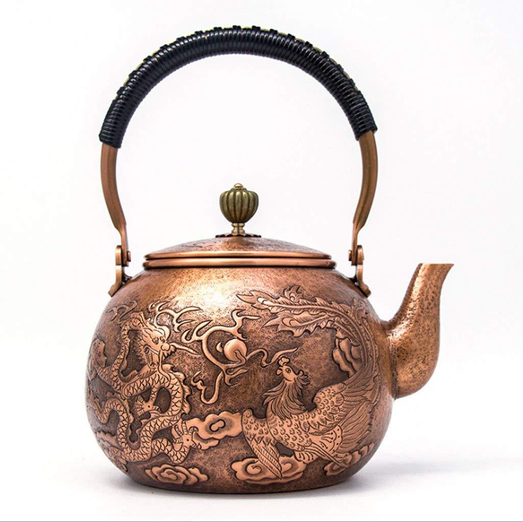 Exquisite Tea Cups Saucers Set Set Coffee Cup Japanese Cast Iron Tetsubin Copper Kettle, Embossed Copper Kettle, Kettle, Tea Set, Thickened 1300ML by Kinue (Image #1)