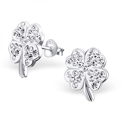 b6239235a Sterling Silver Shamrock Stud Earrings with Crystal: Royal Design:  Amazon.co.uk: Jewellery