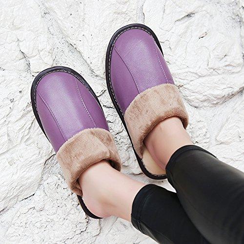 Soggiorno fankou Autunno Inverno cotone pantofole indoor uomini e donne coppie home pavimenti in legno caldo e pantofole inverno gancio ,35-36, di colore marrone scuro