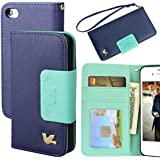 iPhone 4S Case,iPhone 4 Case,By HiLDA,Wallet Case,PU Leather Case,Credit Card Holder,Flip Cover Case[Blue]