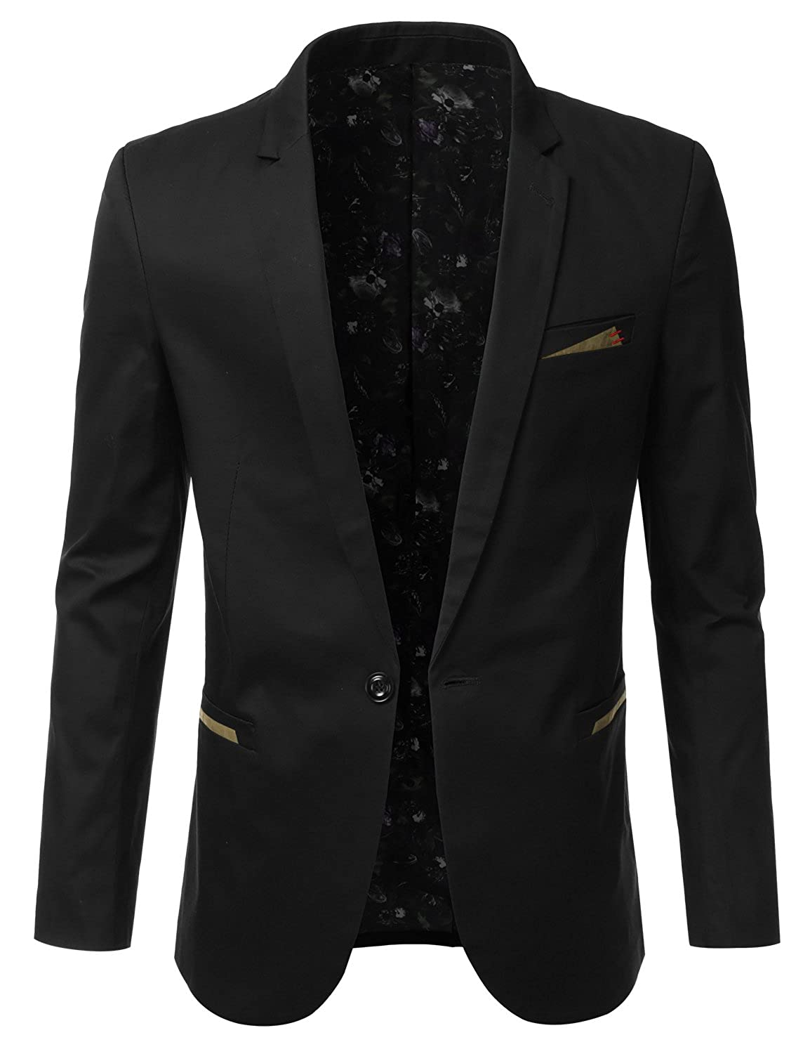 IDARBI Mens Slim Fit Casual Buttoned Blazer Suit Jacket AMOBL028