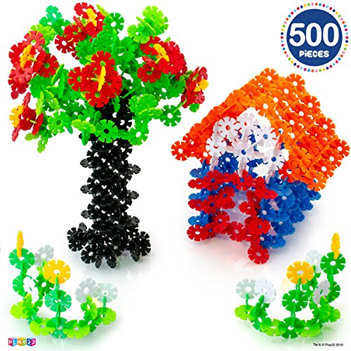 Building Flakes 500 Set - Building Toys for Kids STEM Educational Construction Fun Toys - Building Blocks for Kids 3+ - Best Toy Blocks Gift for Boys and Girls - Great Educational Toys Building Sets by Play22