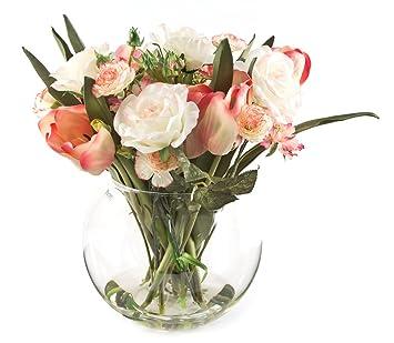 Peony 6304 Tulipanes Rosas y Clavel Artificiales Flores de/Scabiosa/Arrangment en pecera