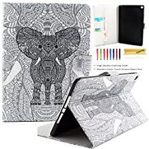 iPad Air 2 Case, iPad 6 Case, Dteck(TM) Fashion Cartoon Cute Flip Folio Stand Case Full Body Protective Premium Synthetic Leather Wallet Cover with Card Slots for Apple iPad Air 2 (01 Gray Elephant)