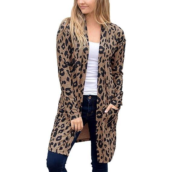 Luckycat Las Mujeres de Invierno Moda Casual Estampado de Leopardo Sexy Warm New Windbreaker Cardigan Abrigo