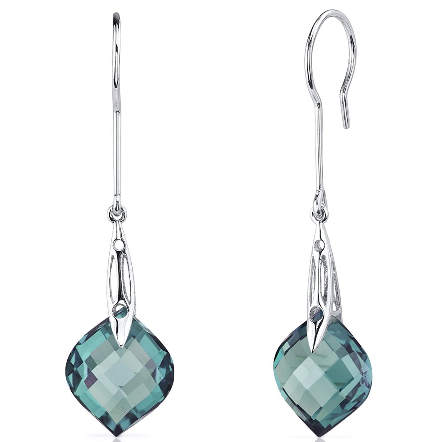 Onion Cut 18.50 Carats Simulated Alexandrite Dangle Earrings Sterling Silver