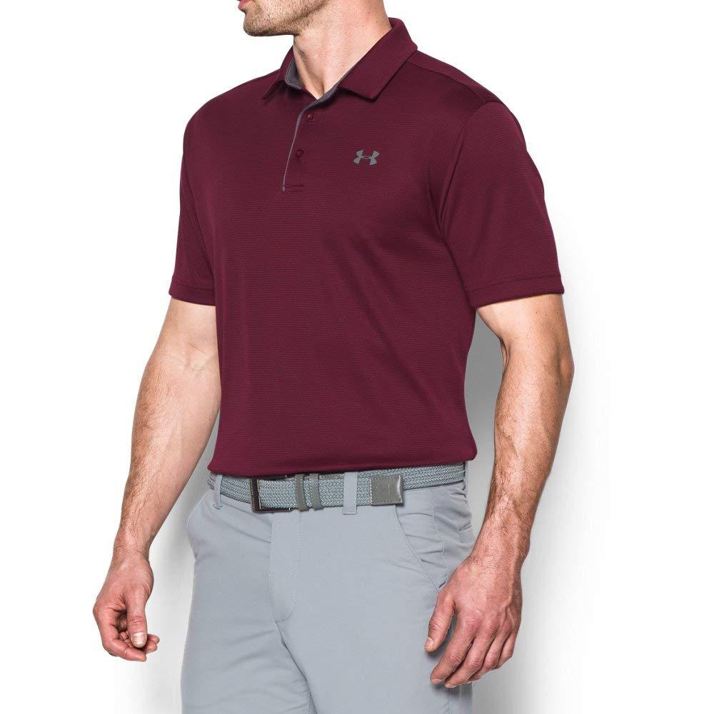 Under Armour Men's Tech Golf Polo Shirt, Maroon (609)/Graphite, Medium by Under Armour