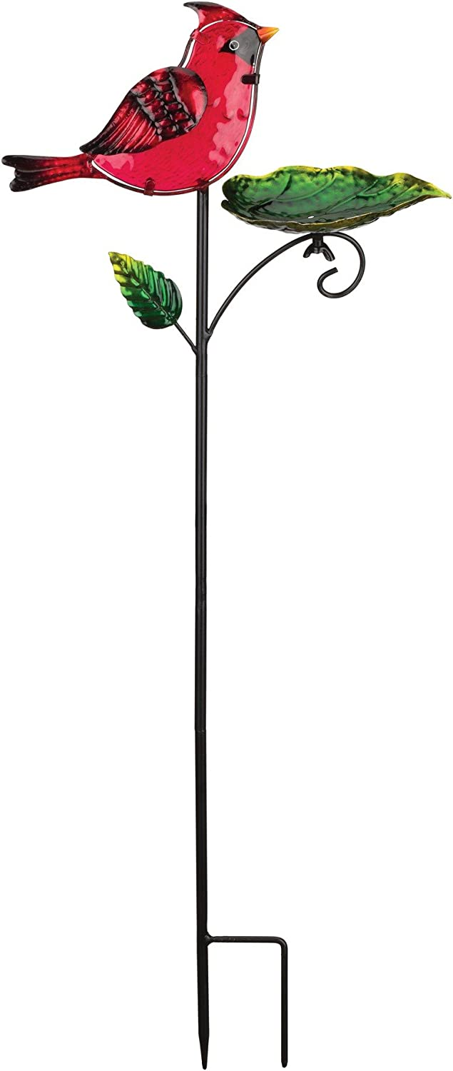 Regal Art & Gift 11.75 Inches X 4.25 Inches X 29.75 Inches Metal/Glass Bird Feeder Stake - Cardinal