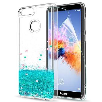 LeYi Funda Huawei Honor 7X Silicona Purpurina Carcasa con HD Protectores de Pantalla,Transparente Cristal Bumper Telefono Gel TPU Fundas Case Cover ...