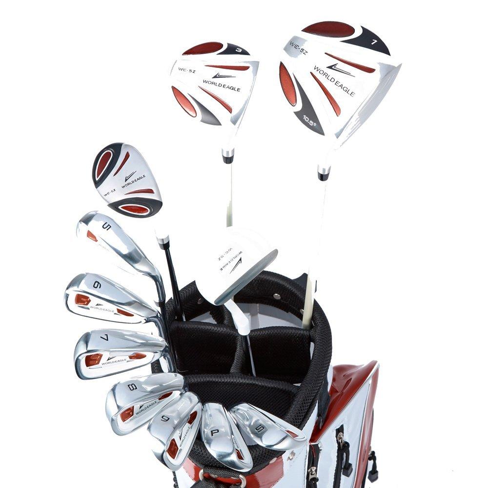 WORLD GOLF(ワールドゴルフ) ワールドイーグル WE-5Z メンズゴルフセット【ホワイト】R+【ホワイト/レッド】J-F-01α スタンドバッグ  5z-w/r+f-01 w/r B01G516VF0