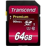 Transcend Scheda di Memoria da 64GB SDXC, Classe 10, UHS-I,Velocità trasferimento 90MB/sec (max)