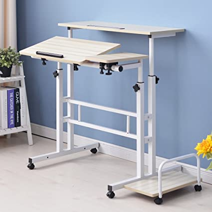 standing office table. Dland Sit-Stand Desk Cart Mobile Height-Adjustable Sit To Stand Office Riser Standing Table