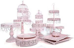 Cake Stands, Metal Crystal Cake Holder Cupcake Stand Cake Dessert Holder with Pendants and Beads,Wedding Birthday Dessert Cupcake Pedestal Display (14 Sets, pink)