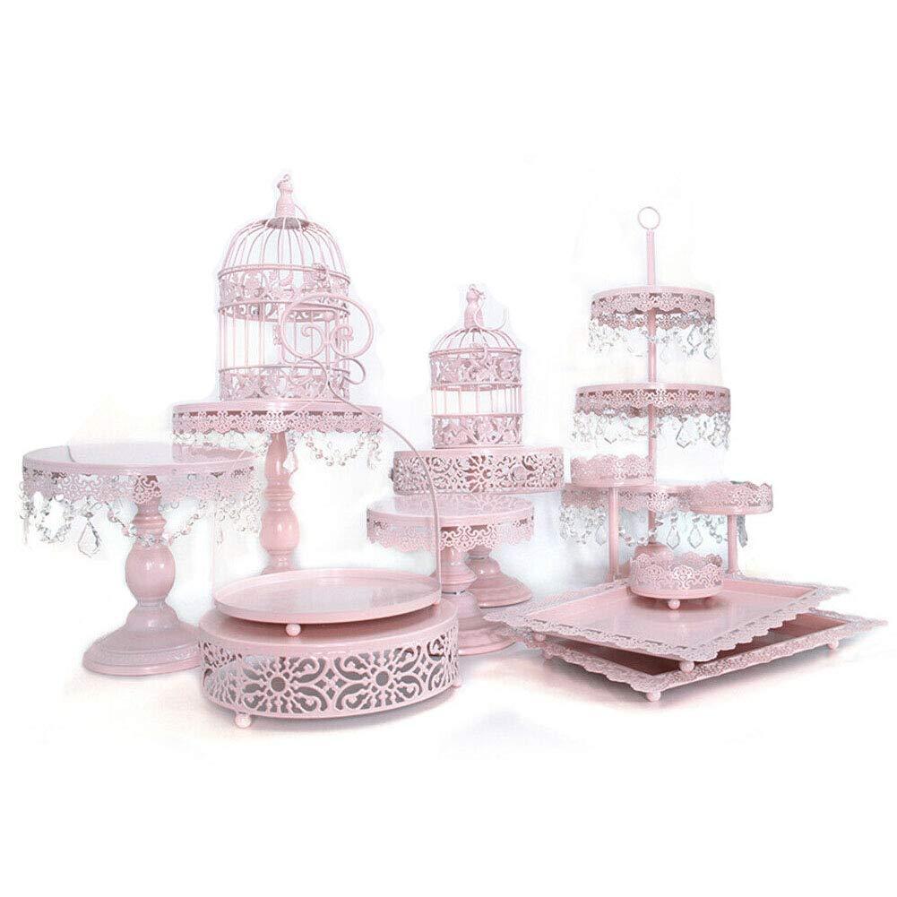 Cupcake Stands, 14 Set Metal Crystal Cake Holder Cupcake Stand Cake Dessert Holder with Pendants and Beads,Wedding Birthday Dessert Cupcake Pedestal Display, Pink USA STOCK (14, pink) by 2013Newestseller