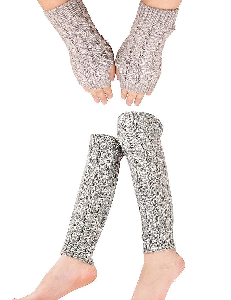 Lujuny Knit Gloves Leg Warmers Set - Spring Winter Fingerless Mittens and boot socks, 1 Pair 1 Pair (BLACK) WT2ShTaoBK