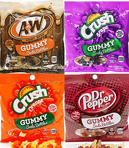 Kenny's Soda Bottle Gummies Variety Pack, A&W Root Beer, Dr Pepper, Grape & Orange Crush, 4.5 Oz (Pack of 4)