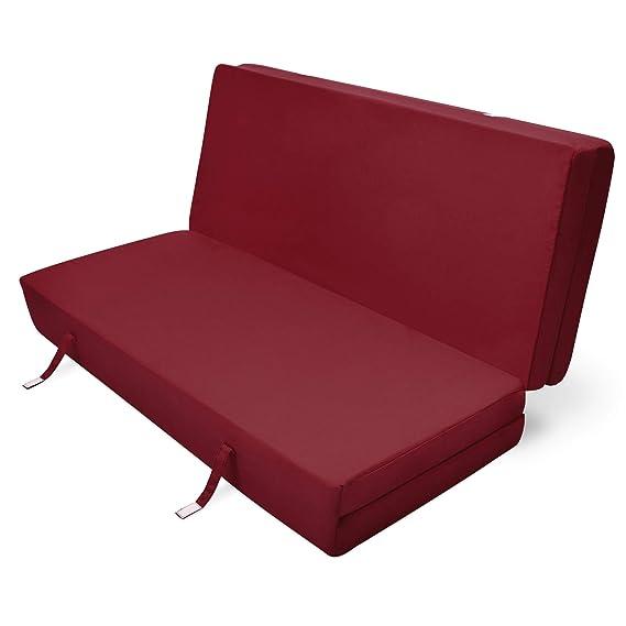Beautissu Cómodo colchón Plegable Campix Auxiliar futón 120 x 195 x 7 cm Ahorra Espacio Tela Microfibra Rojo Oscuro