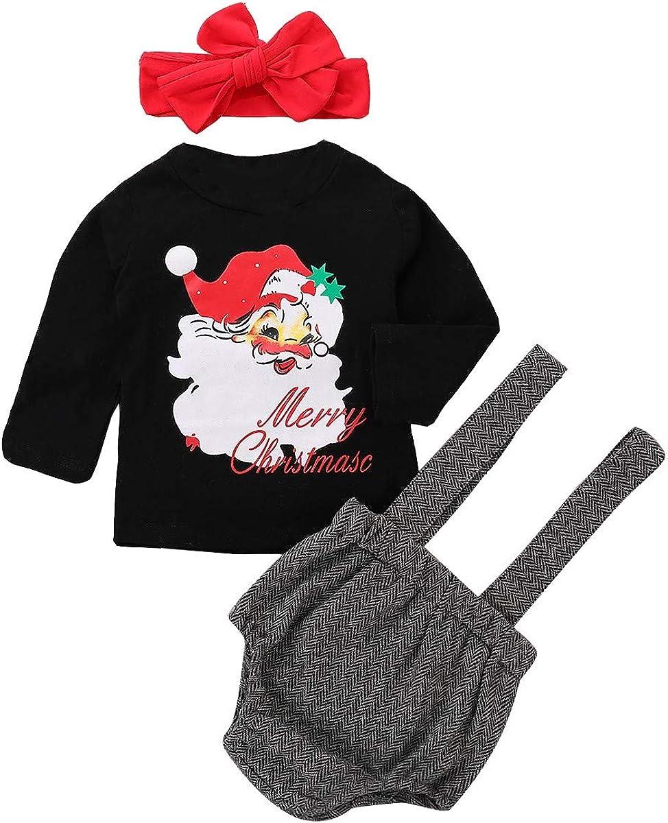 Memela Baby Christmas Outfit,3PC Kids Baby Grils Long Sleeves Santa Claus Tops+Suspender Pants+Headbands Sets