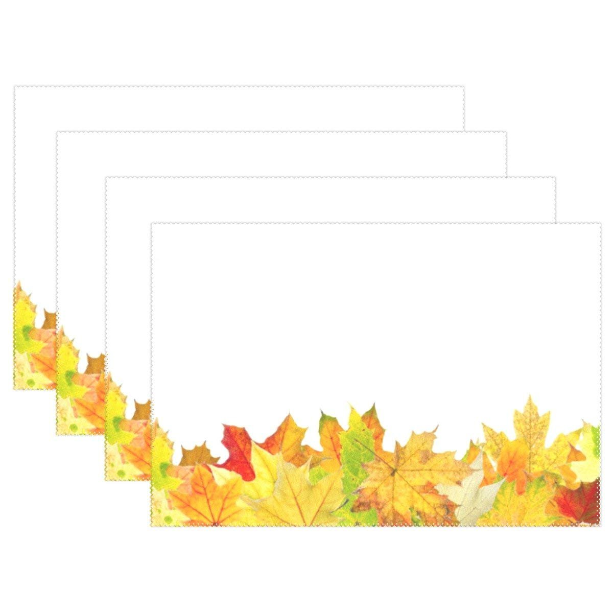 Autumn Leaves Lying On Ground Placemats Table Place Mat for Kitchen Dining Room Polyester 12 x 18 inches Set of 4
