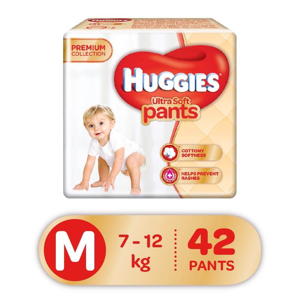 Huggies Ultra Soft Pants Diapers, Medium (Pack Of 42)