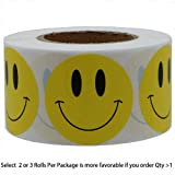 1 inch Smiley Face Stickers Roll Happy Face Stickers Circle Dots Paper Labels Reward Stickers Teachers Stickers 1000 Pieces per Roll 2Roll