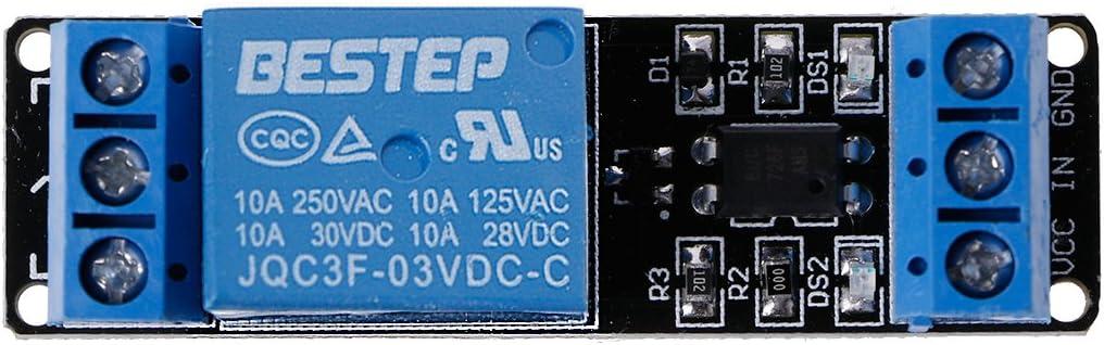 PENG Module de Relais /à Bas Niveau de d/éclenchement de Relais de Canal de 3.3V 1 avec lisolement doptocoupleur