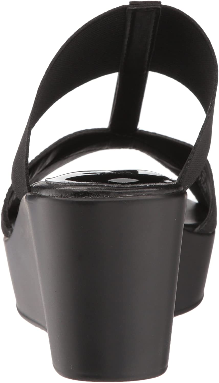 Style by Charles David Womens Japan Wedge Sandal Black 7.5 M US