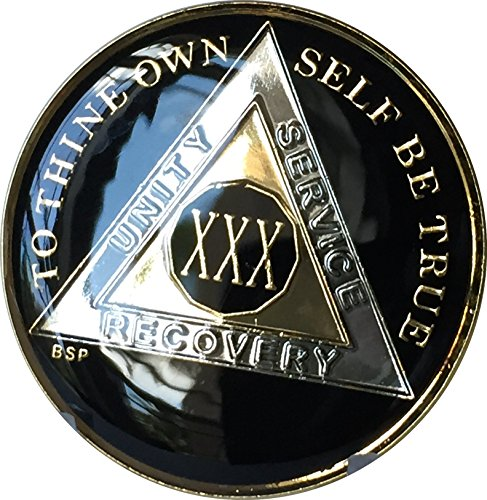 30 Year Classic Black AA Alcoholics Anonymous Medallion Chip Tri Plate Gold & Nickel Plated Serenity Prayer ()