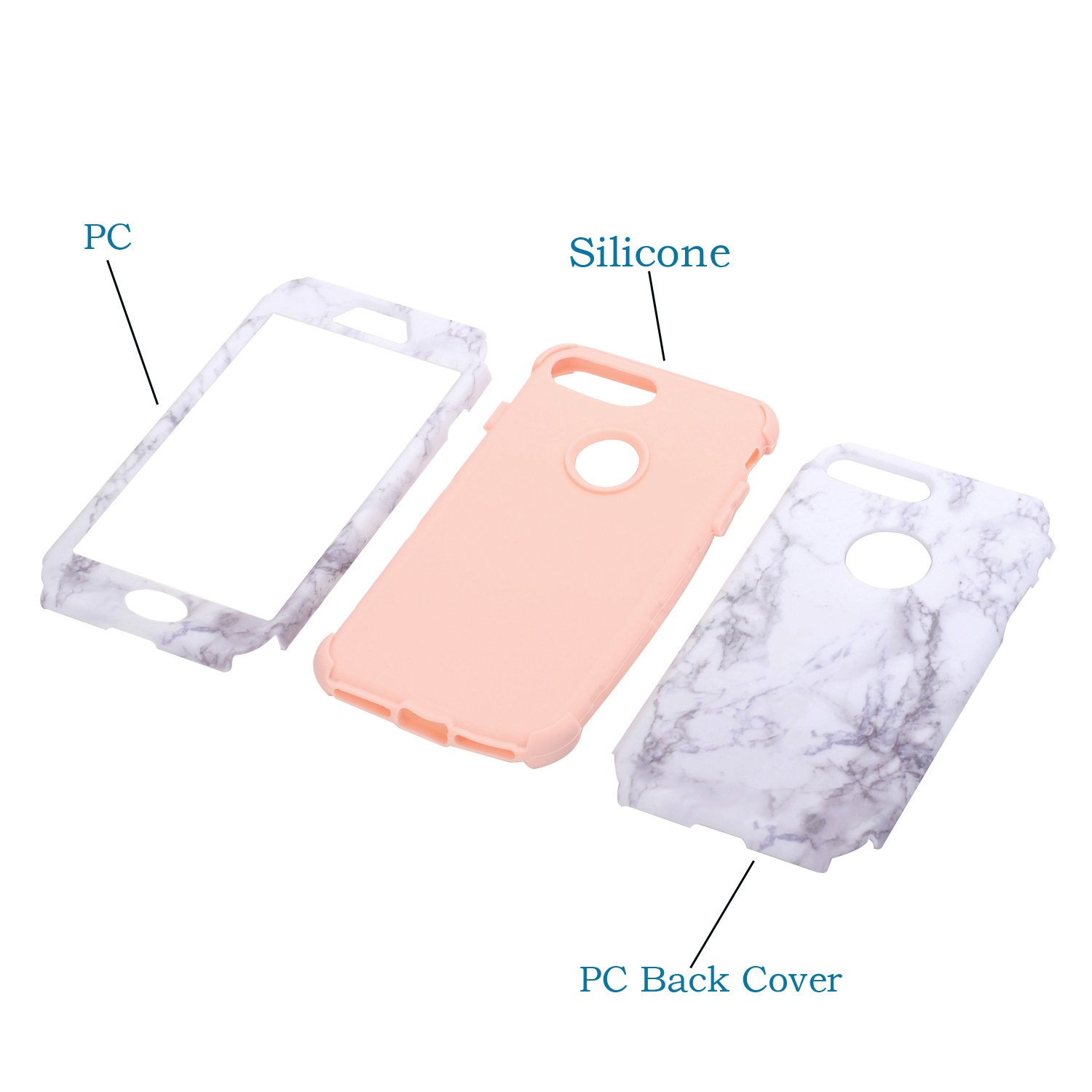 coque iphone 8 plus 360 marbre