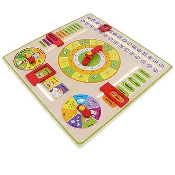 B Blesiya Juguete Montessori Calentario Reloj De Madera Juego
