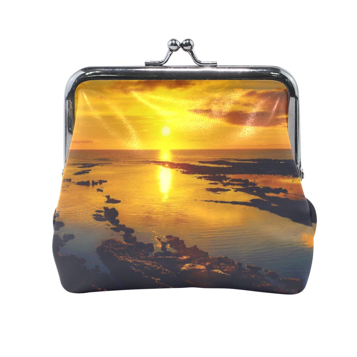 CLveg Coin Purse Card Package Coin Leather for Women Printing Series Sunset