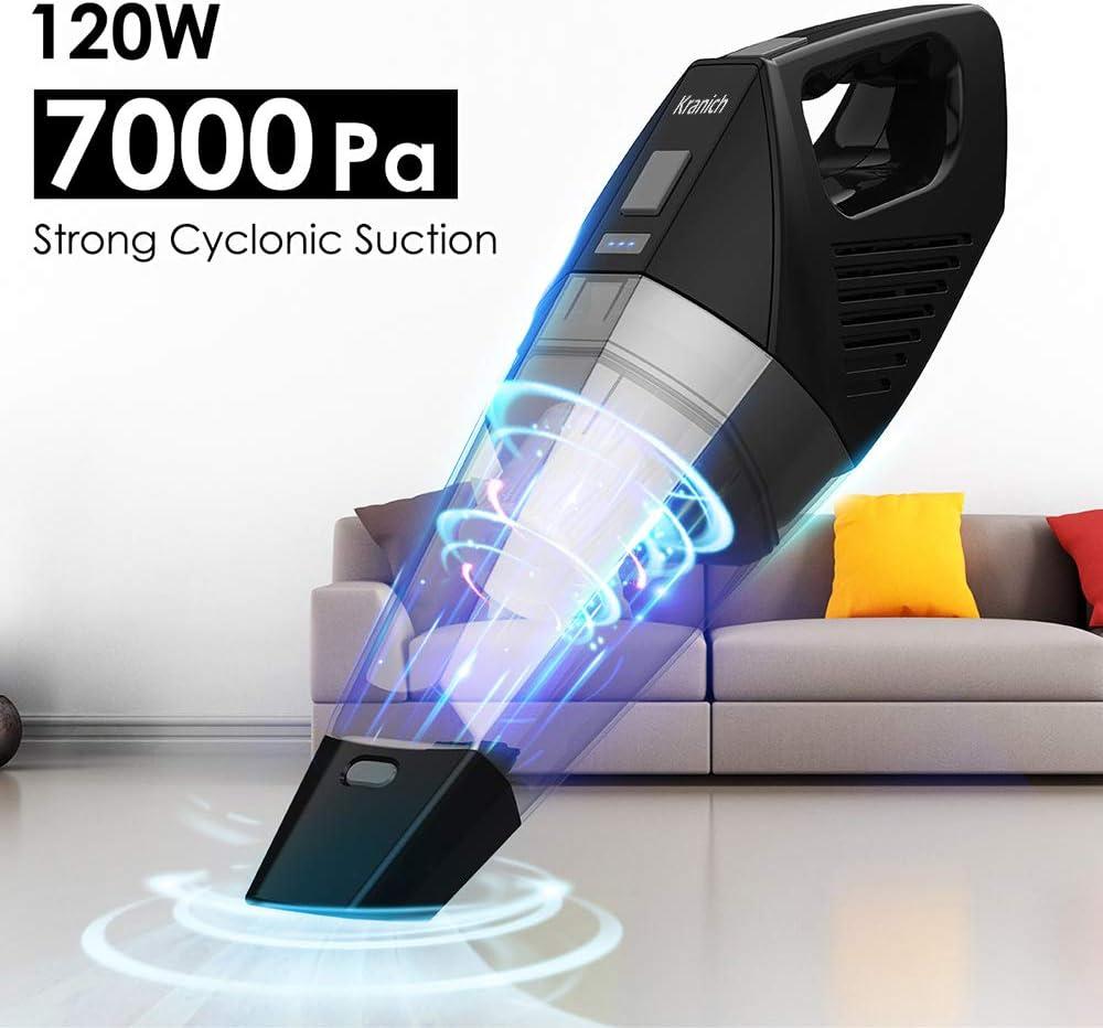 Aspirador de Mano Sin Cable Portatil Mini para Coche y Hogar 120W 7000PA: Amazon.es: Hogar