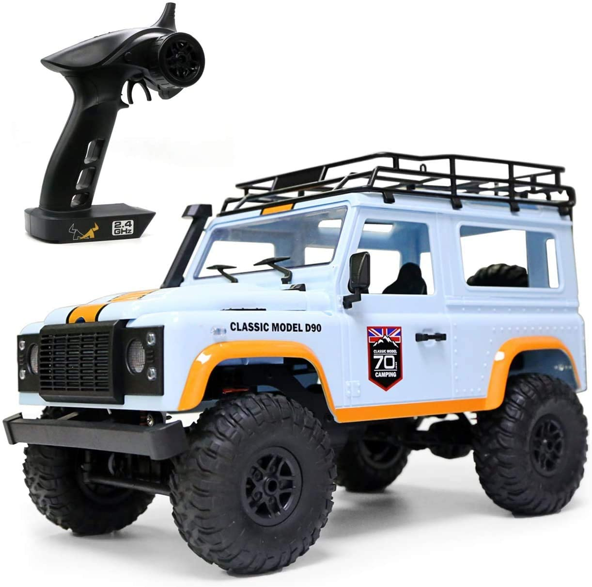 The perseids 1:12 2.4G 4WD RC Car Off-Road High-Speed Vehicle Minitary Truck Climb Rock Crawler Electric Hobby Grade RTR Toy for Kids Over 14 Years Old and Adul ts,Blue